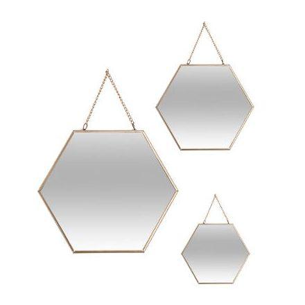 Miroir hexagonal chaine doré grand modèle C