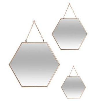Miroir hexagonal chaine doré moyen modèle B