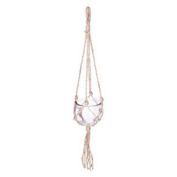 Pot en verre à suspendre - corde
