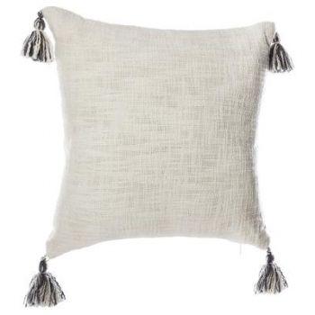 Coussin gris ou blanc avec pompons - 40 x 40 cm