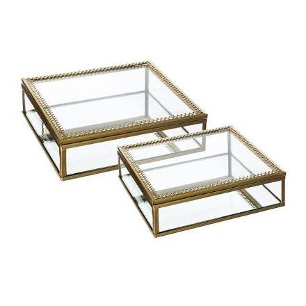 Boite à bijoux - bords dorés - 18 cm
