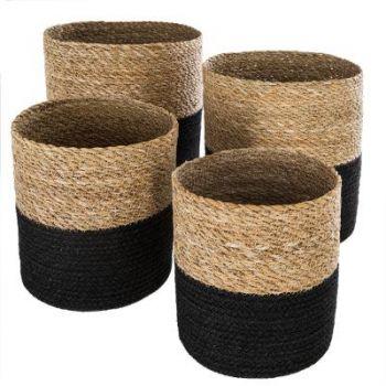 Panier jute seagrass noir 27 x 27 cm