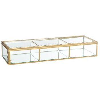 Boite à bijoux en verre rectangulaire - Rebords dorés - Dolce vita