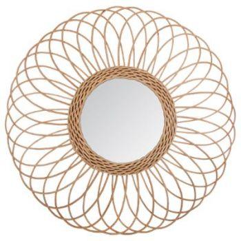 Miroir rotin rosace D 58 cm