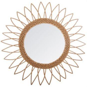 Miroir rotin soleil pointu D 50 cm