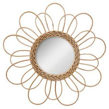 Miroir rotin fleur D 38 cm