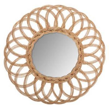 Miroir rotin fleur multi D 50 cm
