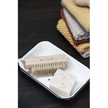 Porte savon métal émaillé - 2 parties - Blanc