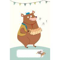Carte ours à l'accordéon