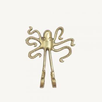 Crochet pieuvre en laiton doré