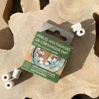 Boîte de 15 perles de céramique grises