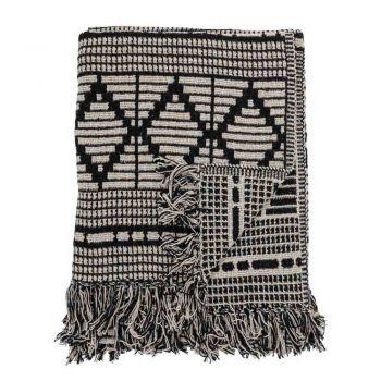 Plaid d'été noir à motifs en coton - 160 x 130 cm - Bloomingville