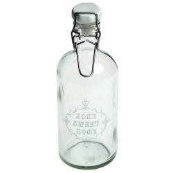 Petite bouteille 15 cm en verre avec couvercle porcelaine