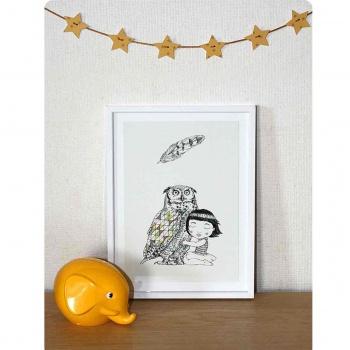 Affiche A4 hibou et petite fille