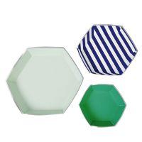 3 plateaux à service en papier géométriques -bleu