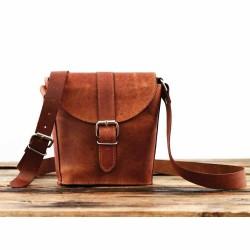 Petit sac en cuir naturel base arrondie