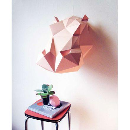 Kit tête d'hippopotame rose en origami
