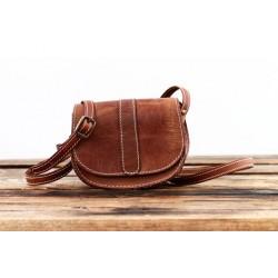 Petit sac en cuir naturel bandoulière vintage