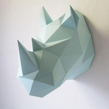 Trophée en origami Rhino bleu pâle Assembli