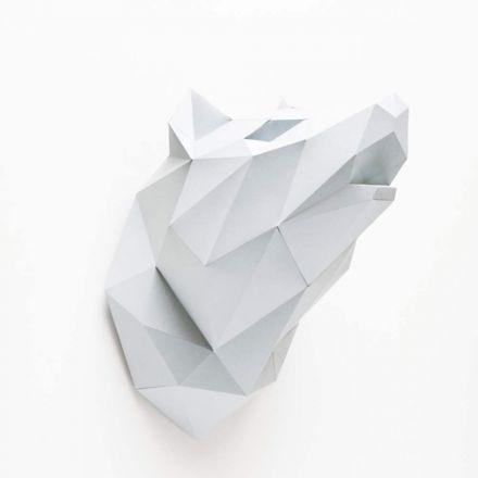 Kit tête de loup blanc en origami Assembli