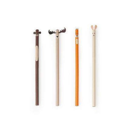 4 crayons animaux de la forêt