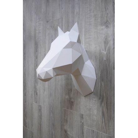 Trophée en origami Cheval / Licorne blanc Assembli