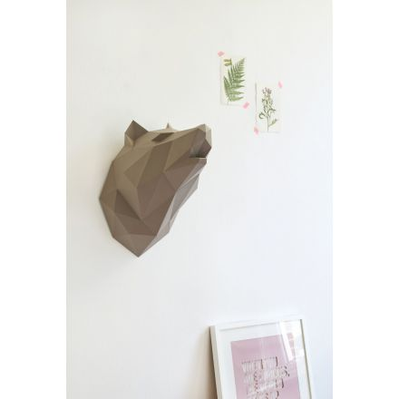 Kit tête de loup brune en origami Assembli