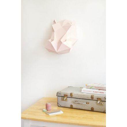 Kit tête d'hippopotame rose en origami Assembli
