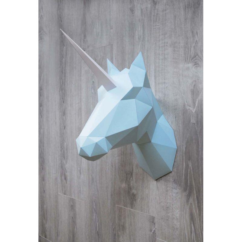 troph e mural cheval ou licorne en origami couleur menthe assembli. Black Bedroom Furniture Sets. Home Design Ideas