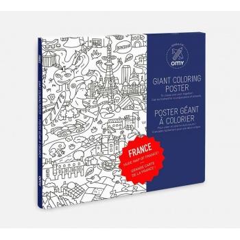 Poster géant à colorier France 100 cm x 70 cm Omy Design and Play